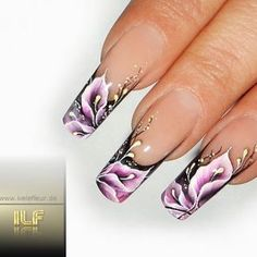 flower one stroke nails. Beautiful one stroke nail art - with polycolor acrylic nail art paints from www.TheNailArtCompany.co.uk