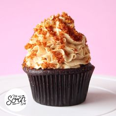 Honey lovers will adore this moist devil's food cake cupcake topped with honeycomb buttercream.