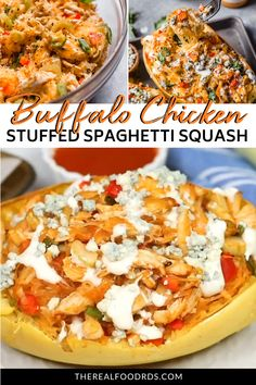 This is for the Buffalo chicken lovers who want a dish they can really tuck into and enjoy without any guilt. Drizzling the twice-baked squash with creamy ranch Ww Recipes, Real Food Recipes, Low Carb Recipes, Cooking Recipes, Yummy Food, Fall Recipes, Speggetti Squash Recipes, Healthy Spaghetti Squash Recipes, Baked Squash