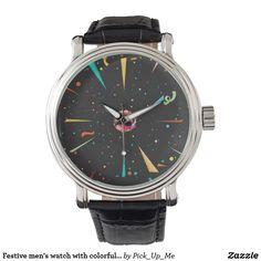 Festive men's watch with colorful confetti designs