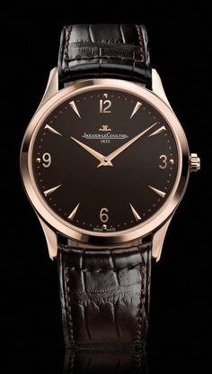 Jaeger-LeCoultre Master Control 1833 Ultra Thin watch.  This beautiful watch is 38mm in diameter and 3.31mm thick 18K rose gold case and laconic dial with gold cabochon minute track and dauphine hands.