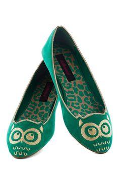 Green owl flats shoes #owl #flats www.loveitsomuch.com
