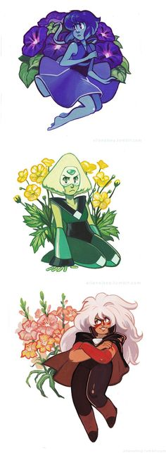 Lapis Lazuli, Periodot, and Jasper from Steven Universe all in bloom. Universe Art, Universe Images, Lapidot, Gravity Falls, Cartoon Network, Adventure Time, Geek Stuff, Bloom, Fan Art