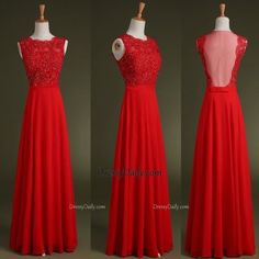 Gorgeous Handmade A Line Scoop Chiffon Tulle Lace Appliques Red Prom Dress - PROM
