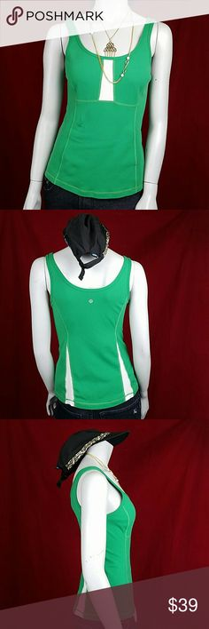 """Lululemon Athleta Tank Top 6 Mesh Panel Fitness K Gorgeous layering tank by Lululemon Sleeveless Pull over Scoop neck Kelly green and white Mesh in the white  Measurements taken with item laying flat  Length: 24"""" or 60.96 cm (back of collar to hem)  Waist: 15"""" or 38.10 cm  Sweep: 18"""" or 45.72 cm Armpit to armpit: 16"""" or 40.64 cm  Shoulder to shoulder: 12"""" or 30.48 cm (back seam to seam) lululemon athletica Tops Tank Tops"""