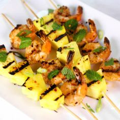 Nothing is better for your next party than a platter of shrimp and grilled pineapple