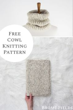 Get your free beginner cowl knitting pattern. This is a perfect beginner cowl knitting pattern using only 1 skein of yarn and it's super bulky yarn, so it knits up quickly. Dishcloth Knitting Patterns, Sweater Knitting Patterns, Knitting Stitches, Knitting Yarn, Free Knitting, Blog Crochet, Tricot Simple, Crochet Tutorial, Knit Headband Pattern