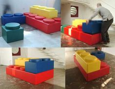 This is a must-have in collection for Lego Lovers. You can spice up your room with the colorful sofa inspired by Lego. The components work just like Lego and it is solid enough to sit and relax. Lego Furniture, Unique Furniture, Furniture Design, Bedroom Furniture, Modular Furniture, Painted Furniture, Furniture Ideas, Library Furniture, Reclaimed Furniture