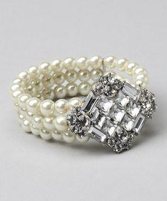 Take a look at this White Pearl & Clear Crystal Pendant Stretch Bracelet by Marlyn Schiff on #zulily today!