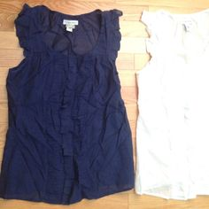 Lot of TWO Calvin Klein Textured Cap Sleeve Tops EUC Lot of TWO Calvin Klein Cap Sleeve Button Down Short Sleeved Blouses. No rips/stains/tears. Wrinkled from summer storage.  Out of town will ship 5/17 Calvin Klein Tops Button Down Shirts