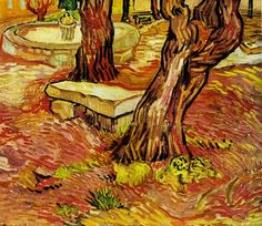 The Stone Bench in the Garden at Saint-Paul Hospital, 1889 ~ Vincent van Gogh