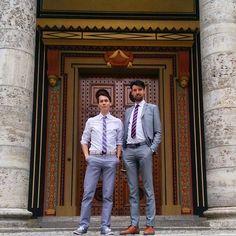 On Sundays we wear grey @littlelionman089   . #Munich #München #guysinsuits #fashion #style #guyswithstyle #topman #suit #malefashion #friendship #bff #bromance
