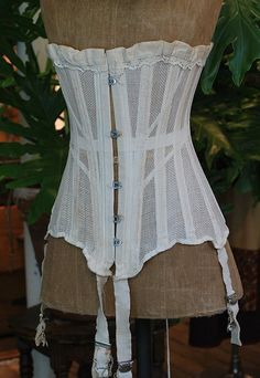 Vintage Late 19th Century Victorian Ladies' White Cotton Mesh Corset with Garters
