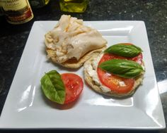 THM E meal - turkey caprese sandwich 2 slices of THM pan bread 1 wedge light Laughing Cow cheese Thin slice of tomato Fresh basil leaves