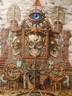 """THE ORACLE"" by R-L-Frisby Dark Fantasy Art, Dark Art, Bizarre Art, Lowbrow Art, Anatomy Art, Pop Surrealism, Visionary Art, Fantasy Landscape, Skull And Bones"