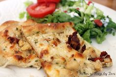 Chicken Alfredo-Ranch Pizza (with homemade alfredo sauce recipe using evaporated milk, cheese, cream cheese and butter)