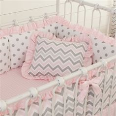 Discount Chevron Fabric | Pink and Gray Chevron Decorative Pillow with Ruffle | Carousel Designs