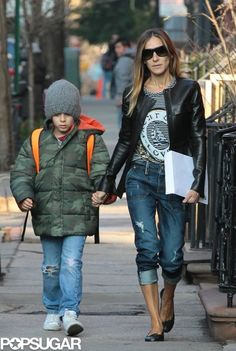 Sarah Jessica Parker took her son to school in NYC on Monday.