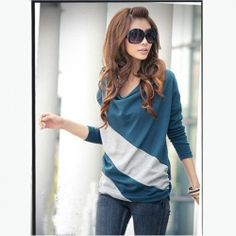 $7.09 Diagonal Stripes Long Sleeves Shirt For Women... This site is pretty crazy.  Perfect if you're a medium sized girl.
