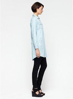 Classic Collar Shirtdress in Tencel Cotton Denim
