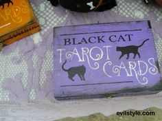 Tarot Card Box Holder/Playing Card Box Black Cat/Card Box/Halloween Decor/Game/Halloween Party/Black Cat - http://evilstyle.com/tarot-card-box-holderplaying-card-box-black-catcard-boxhalloween-decorgamehalloween-partyblack-cat