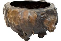 Solid Bronze Planter w/ Animal Heads