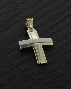 """Σταυρός """"Τριάντος"""" χρυσός & λευκόχρυσος Κ14 Mens Crosses, Symbols, Jewelry, Decor, Crosses, Jewels, Icons, Schmuck, Decorating"""