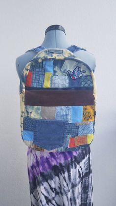 073e6c55ba02 Denim and corduroy backpack with patches boho one of a kind bag tie dye  jean custom