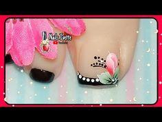 Decoración de uñas para PIE boton / diseño de uñas negro / uñas decoradas one stroke capullo - YouTube One Stroke, Nails, Youtube, Beautiful, Nail Art, Finger Nails, Toe Nail Art, Simple Toe Nails, Black Nail Designs
