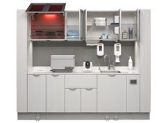 A-dec Inspire sterilization center. The easy touch foot pedal opens cabinets and promotes infection control.