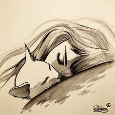 ONE SLEEP Original painting by Raphaël Vavasseur art Art portal: Art Et Illustration, Illustrations, Art Du Croquis, Art Sur Toile, Cat Art Print, Ouvrages D'art, Cat Tattoo, Cat Drawing, Art Sketches
