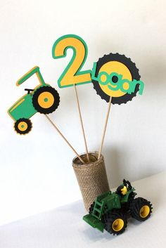Green tractor, John Deere centerpiece sticks (3) - party decor, birthday party, farm birthday, baby shower, tractor birthday party on Etsy, $15.00