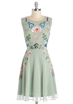 It's Meant to Bead Dress. Theres a sparkle in your eye when you set your sights on this seafoam dress, and you know that this is the one youre destined to wear on such a special occasion! #mint #prom #modcloth
