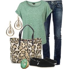 Own this outfit, just need to find the Leopard Print Tote!