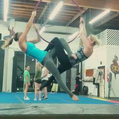Stole this video from @aeriallison ... Our first time trying doubles  #lyra #doubleslyra #duet #aerial #aeriallyra #hoop #aerialhoop #spinning #aerialists #aerialistsofig #acrobatics #partnerwork #partneracrobatics #aerialfitness #firestormfreerunning #pretty #spin #fun #partnerlyra #duo