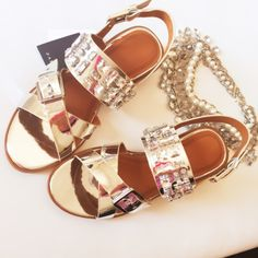 "HP Zara Shinny jeweled sandals size 38 New with tags and box! 1.5"" heel, Zara size 38 , bottom of shoes measures 10"" verify your size  Zara Shoes Sandals"
