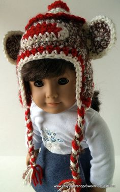 American Girl Crocheted Sock Monkey Ear Flap by SweetPeaFashions, $6.00
