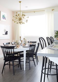 Nicolette Mason LA Home by Emily Henderson Black Dining Room Chairs, Dining Room Table, Dining Rooms, Black Chairs, Dining Area, Nicolette Mason, Blogger Home, Oval Table, Dining Room Inspiration
