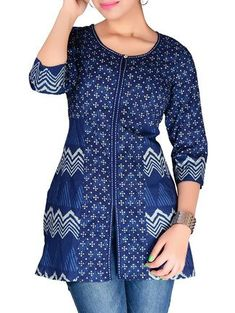 Buy Jaipur Prints Indigo Block Print Style Short Cotton Kurti Online, , LimeRoad Short Kurti Designs, Kurti Neck Designs, Kurta Designs Women, Kurti Designs Party Wear, Blouse Designs, Churidar Designs, Office Wear Women Work Outfits, Kurti With Jeans, Stylish Dress Designs