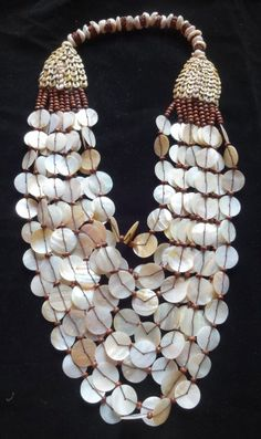 Exotic Golden Thin Shell Necklace Adornment Hand Woven Papua New Guinea Style
