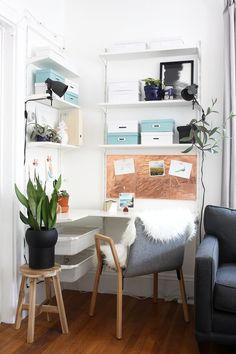 From cluttered corner to white, bright, and organized, this Scandinavian workspace makeover is filled with plants, art, and lots of room for craft supplies.