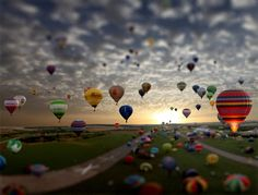 Really cool hot air balloons in Tilt-Shift photography by Rodney Campbell.
