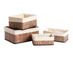 Set de 4 cestas de tela y madera de bambú