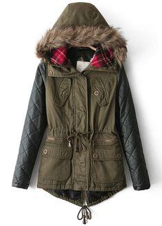 Hooded Collar Long Sleeve Coat