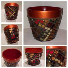 Unique Mosaic Flower Pots Custom Order Colors by HamptonMosaics Mosaic Planters, Mosaic Flower Pots, Terracotta Flower Pots, Tile Crafts, Mosaic Crafts, Mosaic Projects, Painted Clay Pots, Painted Flower Pots, Hand Painted