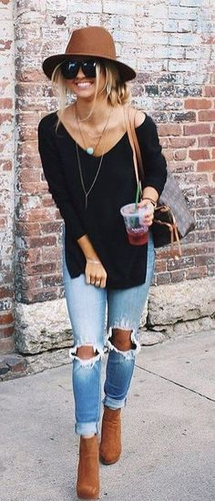 #summer #outfits Brown Hat + Black Knit + Destroyed Jeans + Brown Booties // Shop this exact outfit in the link