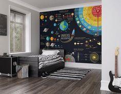 Univers scientifique Photo papier peint Mural  Créez un magnifique mur dans n'importe quelle pièce de votre maison avec la scientifique murale. Une infographie richement illustré parfait pour les astronomes et les astronautes en herbe, cette fresque de l'univers scientifique est une carte pour vous