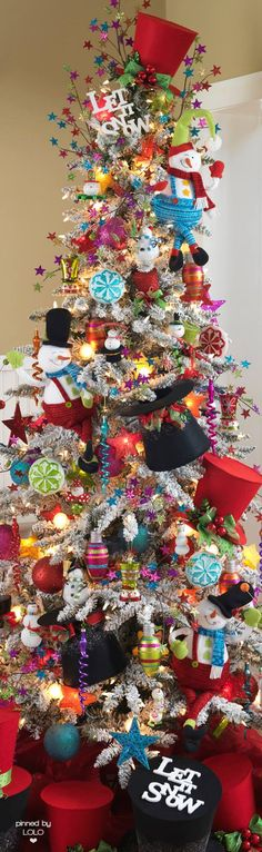 Festive Let It Snow Colorful Christmas Tree