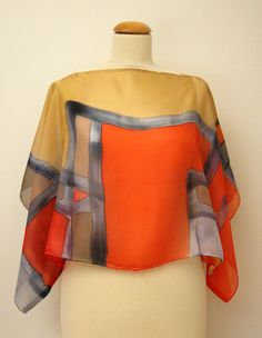 Love pallette, geometric lines and shapes..... Silk blouse hand painted - Silk scarf- Wedding blouse- Scarves for her-Wedding silk top-Kimono-Silk handpainted - Ooak silk blouse