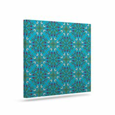 "Mayacoa Studio ""Morrocan Tile In Blue"" Geometric Floral Canvas Art"